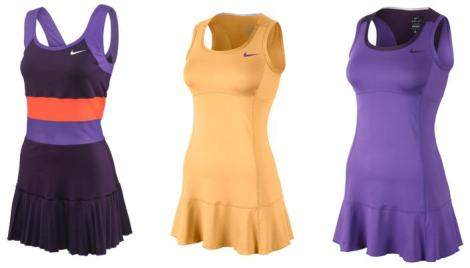 Left to right, Grand pleated dress, Grand flouncy dress in Melon, Grand flouncy dress in Ultraviolet