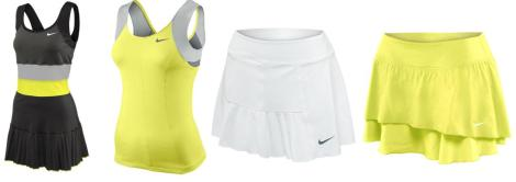 Left to right: Nike Spring pleated dress, Princess tank, pleated skirt and flouncy skirt