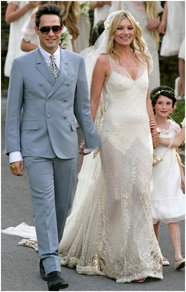 And here is Kate Moss in a more modern Stella McCartney design at her wedding in 2011.